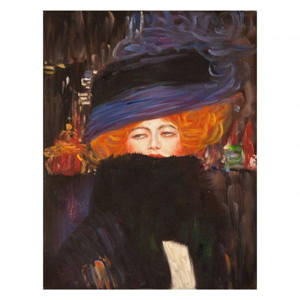 Signora con cappello e boa di piume di Gustav Klimt – Stampa su Tela