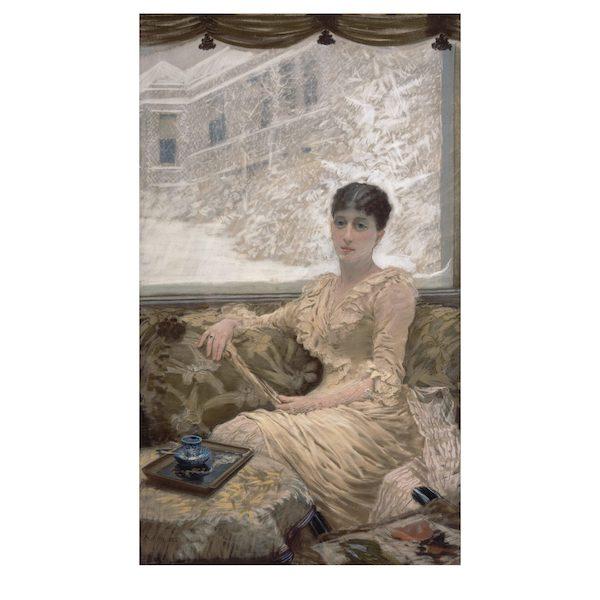 Il Ritratto di Madame De Nittis di Giuseppe De Nittis Stampa su tela per pittura, compresa di telaio dell'opera Il Ritratto di Madame De Nittis di Giuseppe De Nittis