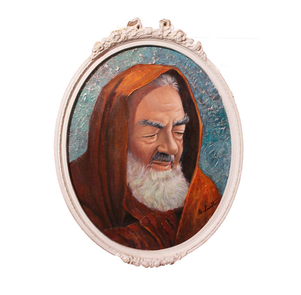 Padre Pio Dipinto Olio su Tela Ovale